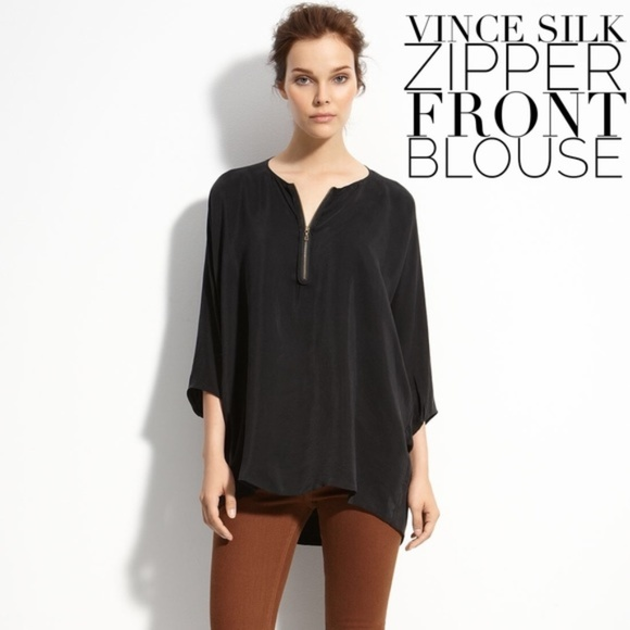 6f9a8b842b1cfe VINCE Zip Front Silk Tunic Black. M_5a8f782205f430923db1e134